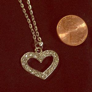Jewelry - Silvertone open heart rhinestone Necklace new